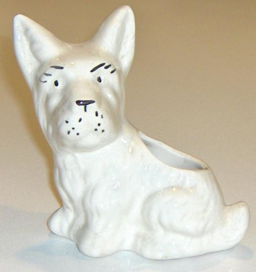 Vintage White Terrier Dog Planter