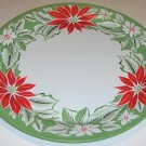 "Vintage 19"" Metal Holiday Tray - Poinsettia Design"