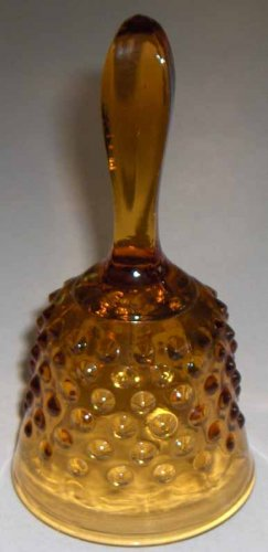 Fenton Amber Glass Bell with Hobnail Design