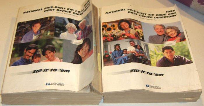 1996 USPS Zip Code Directory Vol 1 & Vol 2