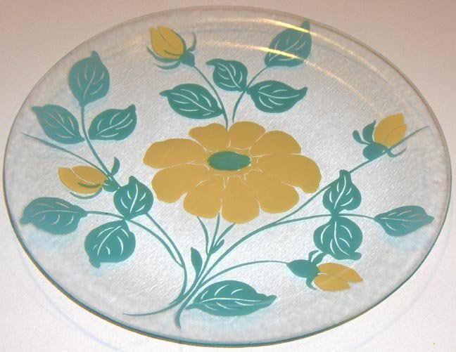 Large Glass Platter with Yellow Flower and Aqua Leaves
