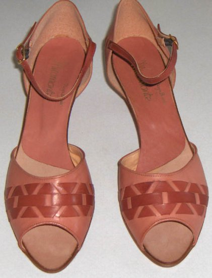 Vintage Miramonte Two Tone Open Toe Shoes Made in Italy Size 8M
