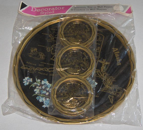 Vintage Alaska Souvenir Metal Tray and 6 Coasters - MIP