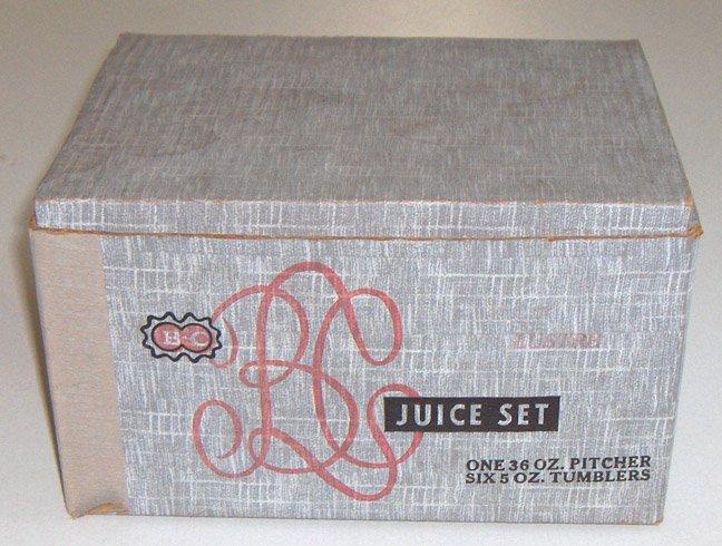 Vintage Bartlett Collins Vintage Juice Set - Retro Pitcher & Glasses In Box
