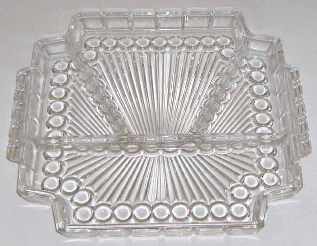 Vintage Bubble Glass Relish Tray