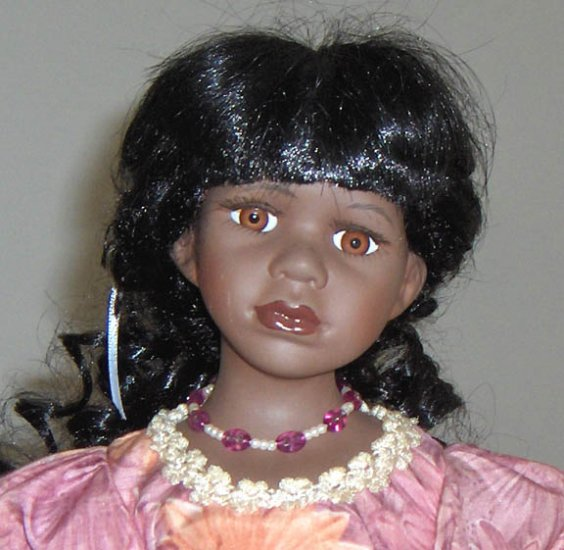 "16"" Porcelain African American Doll with Colonial Style Dress"
