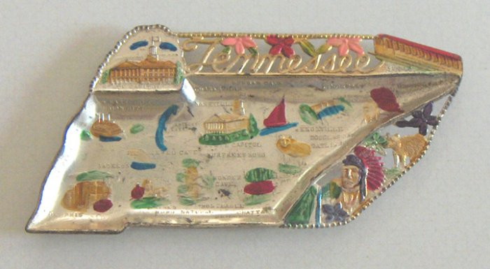 Vintage Souvenir Metal Tray - Tennessee State Shape - MIJ