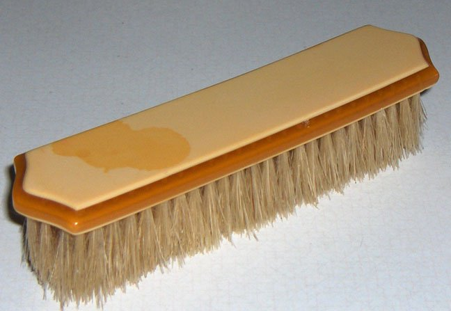 Vintage Celluloid Clothes Brush - Natural Bristles