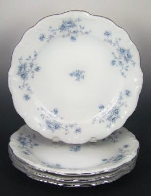 Johann Haviland Dessert Plates - Blue Garland Pattern with Platinum Trim - Set of Six