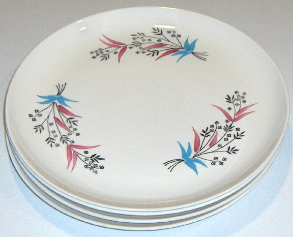 Set of 4 - Vintage Stetson Pink & Blue Handpainted Underglaze 1957 Dinner Plates