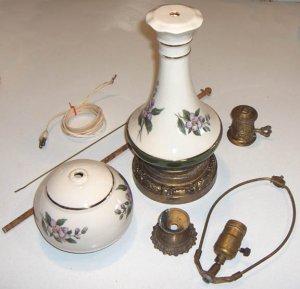 Vintage Handpainted Ceramic Lamp - Unassembled, Parts