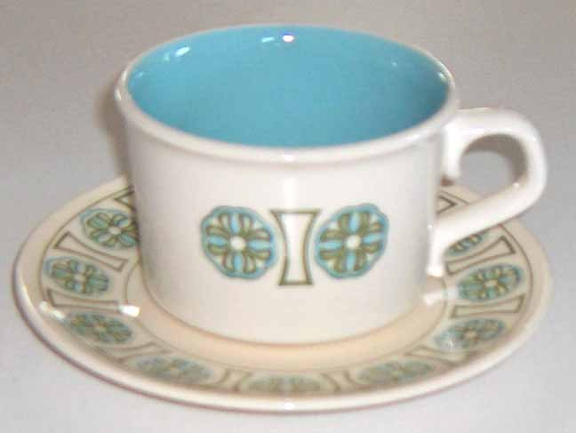 Vintage Blue and Green Cup and Saucer - Set of 4