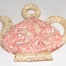 Vintage Mother-of-Pearl Resin Trivet in shape of Teapot