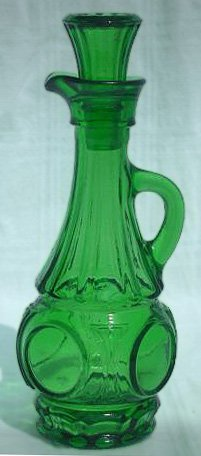 Vintage Wheaton Bullseye Green Glass Cruets - Set of 2