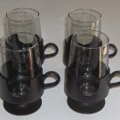 "Vintage CORNING GLAS-SNAP 5"" Glasses / Mugs - Black Set of 4"