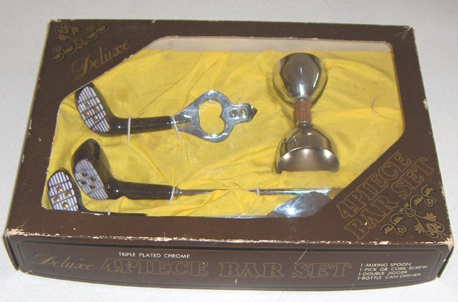 Vintage Golfer's 4 Piece Bartender Bar Set in Original Box MIJ