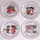 Enesco 1976 Set of 4 Holiday Christmas Coasters MIJ