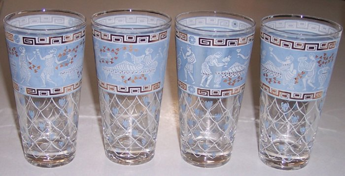 Vintage Grecian Art Glass Tumblers - Set of 4