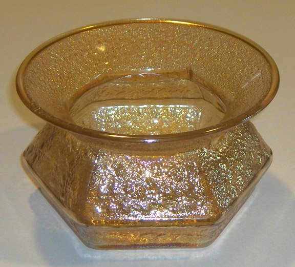 Vintage Imperial Glass Hobnail Soda Gold Spittoon
