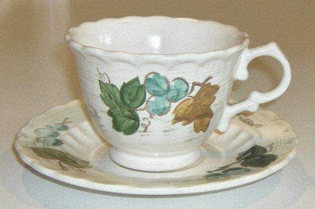 Vintage Metlox Vernon Ware VINEYARD Cup & Saucer