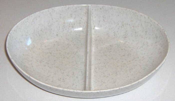 Vintage White Melamine Melmac with Gray Speckled Divided Serving Bowl