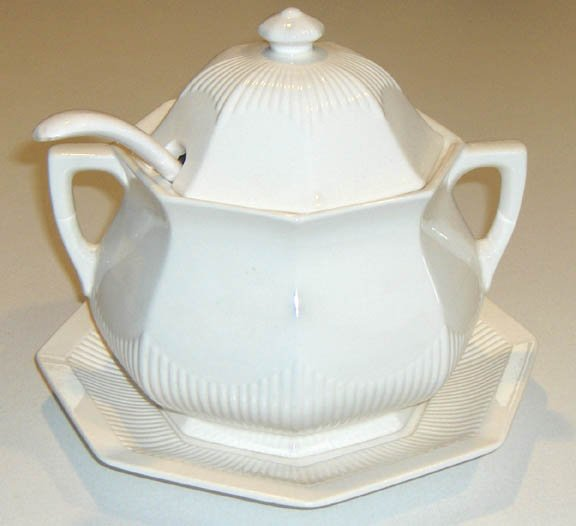 Vintage White Octagonal Soup Tureen with Charger Plate and Ladle - MIJ