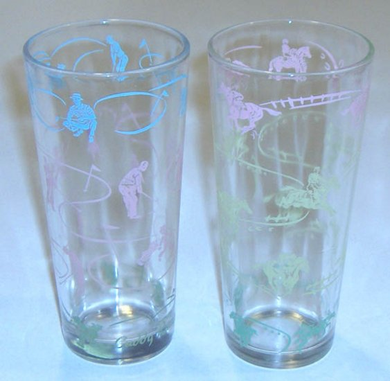Vintage Swanky Swig Style 16 oz. Glass Tumblers - Golfing & Horse Racing