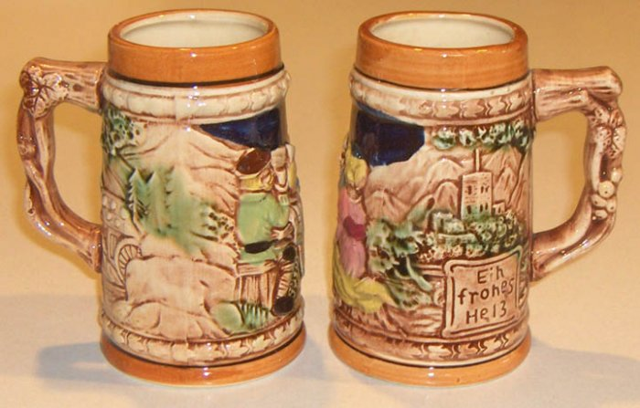 Vintage Country Scene Stein Mug MIJ - Set of 2