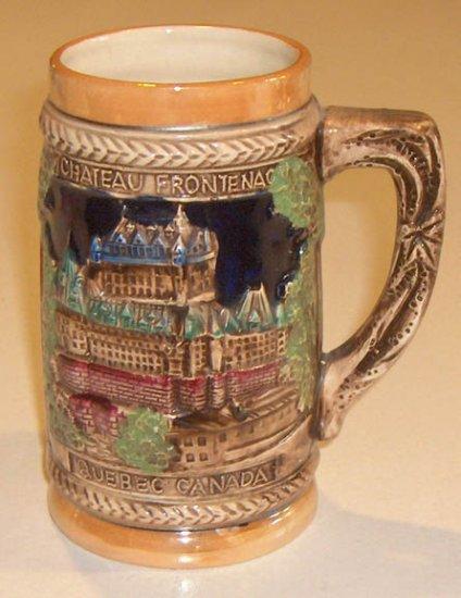 Vintage Souvenir Chateau Frontenac Montmorency Falls Quebec Stein Mug MIJ