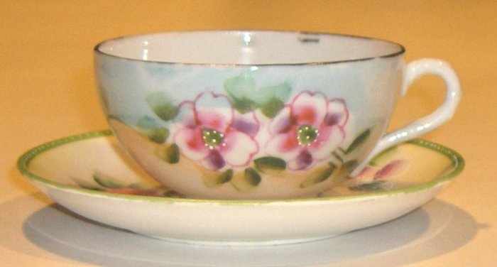 Vintage Handpainted Ceramic Cup and Saucer - MIJ