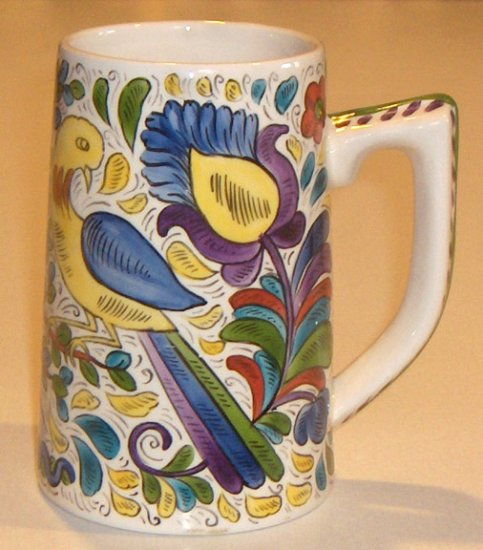 Colorful Hand-painted Mug - Scandinavian Floral with Birds, Tree