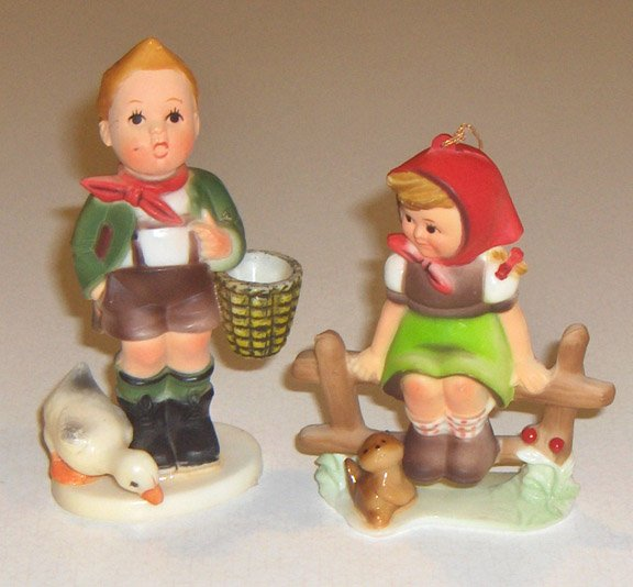 Vintage Plastic Hummel Style Ornaments - Set of 2 Made in Hong Kong