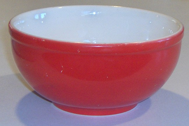 "Universal Potteries Orange Red 6"" Bowl circa 40's-50's"