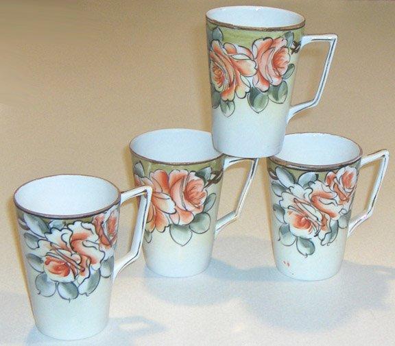 Vintage Handpainted Roses Nippon Cup / Mug Set of 4 MIJ