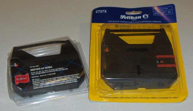 New OEM Brother & Pelikan Brand Black Correctable Film Cartridge Ribbons - Set of 3