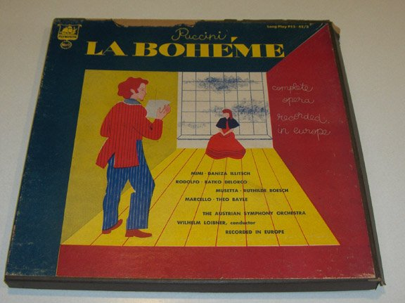 Vintage Plymouth Merit Records - Puccini La Boheme Vinyl LP Record - Boxed Set of 3