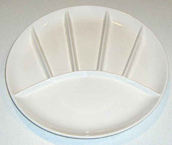 VintageWhiteCeramic Fondue DividedPlates- MIJ Set of 2