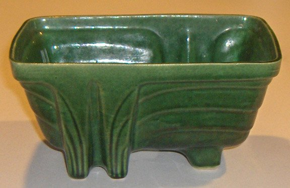 Vintage Cookson Pottery Footed Planter CP-1267 Green