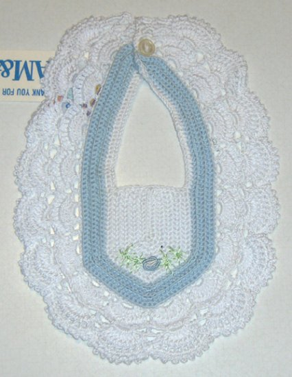 NWT Vintage Crocheted Heirloom Quality Bib & Booties - Made in Portugal Pride N Joy FWC