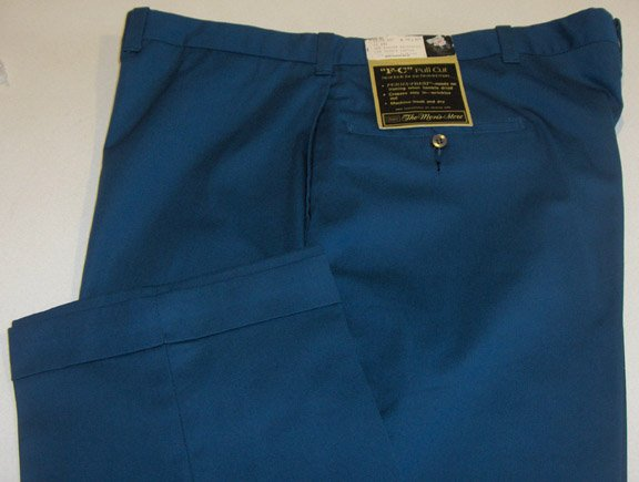 "NWT Vintage Sears ""F-C"" Full Cut Work Pants Size 42 x 30 - Perma-Prest Dark Royal Blue"