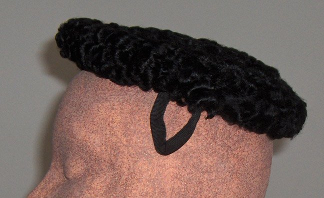 Vintage Flat Pill Box Black Persian Lamb Wool Hat