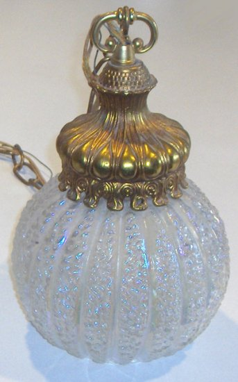 Retro Iridescent Glass Double Light Hanging Lamp circa 1960s