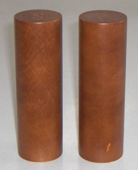 Vintage Cylindrical Wood Salt and Pepper Shakers