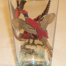 Vintage 22K Gold & Red Pheasants Highball Bar Glass