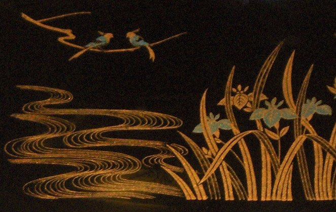 Plastic Laquerware Tray - Gold Birds Japanese Irises