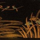 Plastic Laquerware Tray - Gold Birds Japanese Irises