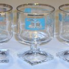 Vintage SC Libbey Showboat Steamboat Wine / Dessert Glasses Turquoise w/ Gold Trim Set of 7