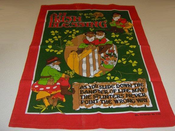 Unused Vintage Irish Linen Kitchen Towel - An Irish Blessing