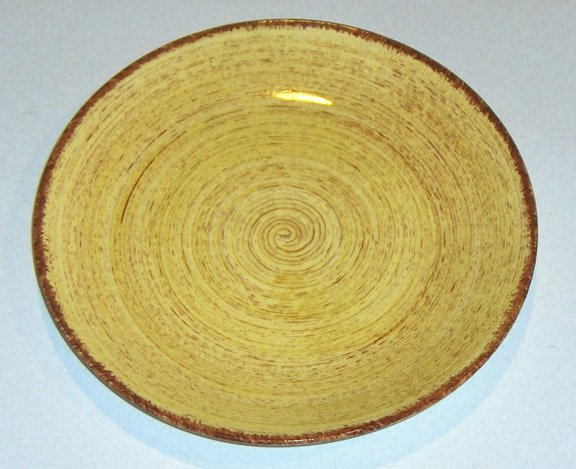 Vintage Blue Ridge Southern Potteries Brown Swirl on Yellow Bread Plates - Set of 4