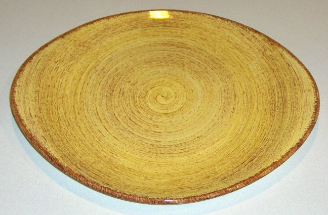 Vintage Blue Ridge Southern Potteries Brown Swirl on Yellow Handled Serving Platter